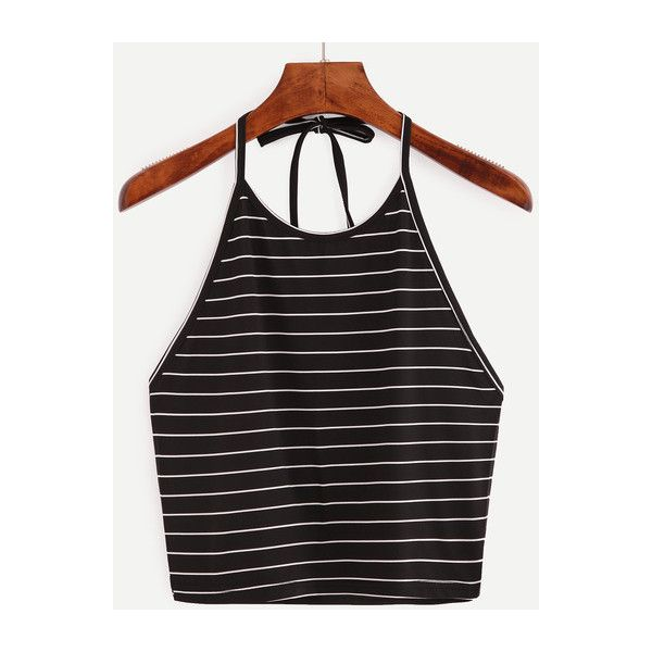 SheIn(sheinside) Halter Striped Cami Top (350 THB) ❤ liked on Polyvore featuring tops, black, halter camisole, summer tops, cotton halter top, stretch top and halter-neck tops