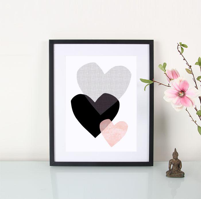 Artprint / 3 Herzen eulenschnitt