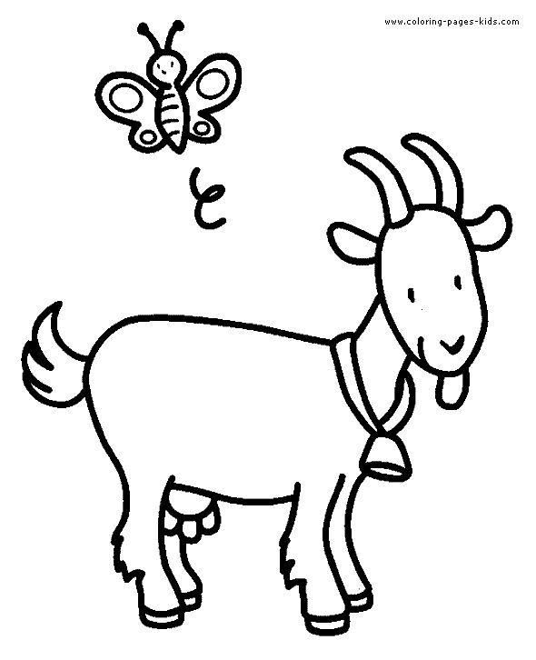 Goat color page, animal coloring pages, color plate, coloring sheet,printable coloring picture