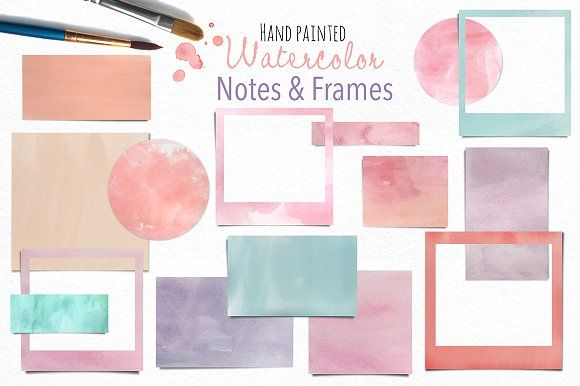 Watercolor Notes And Frames By Patternpop Studio On
