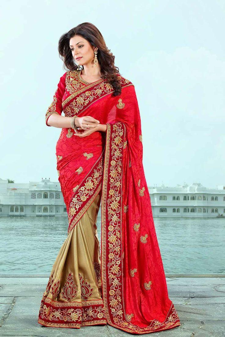 Red and Beige Stunning Half and Half Saree