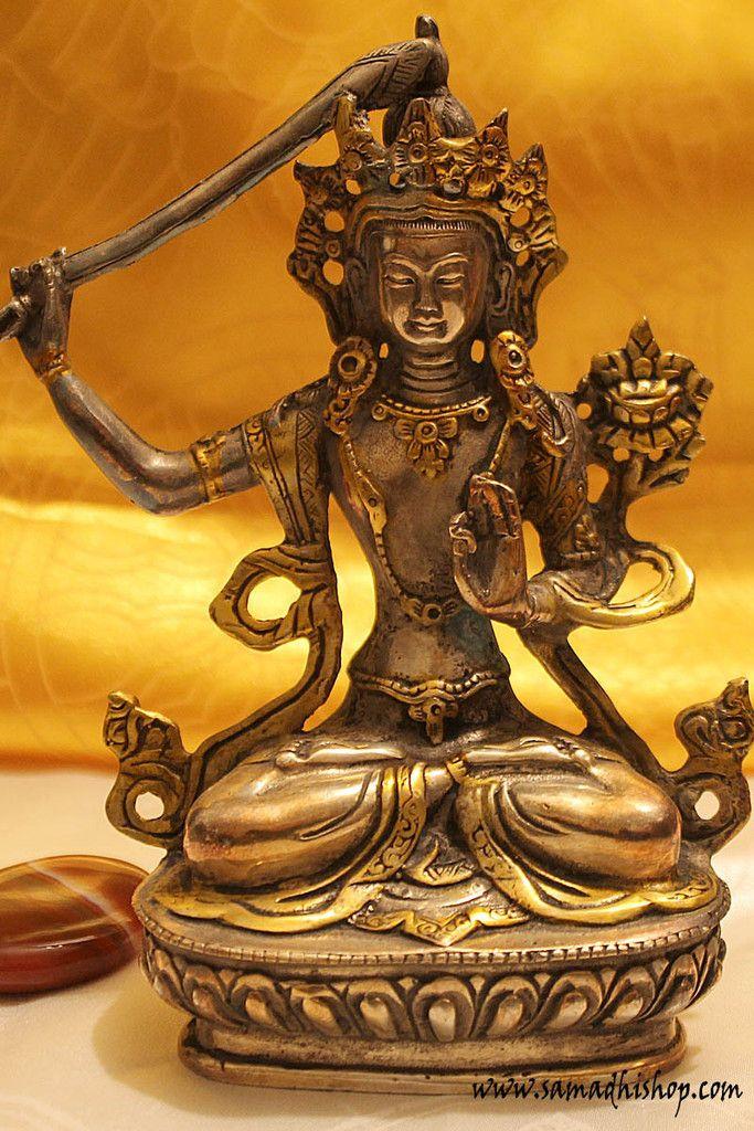 Manjushri tibetan silver statue
