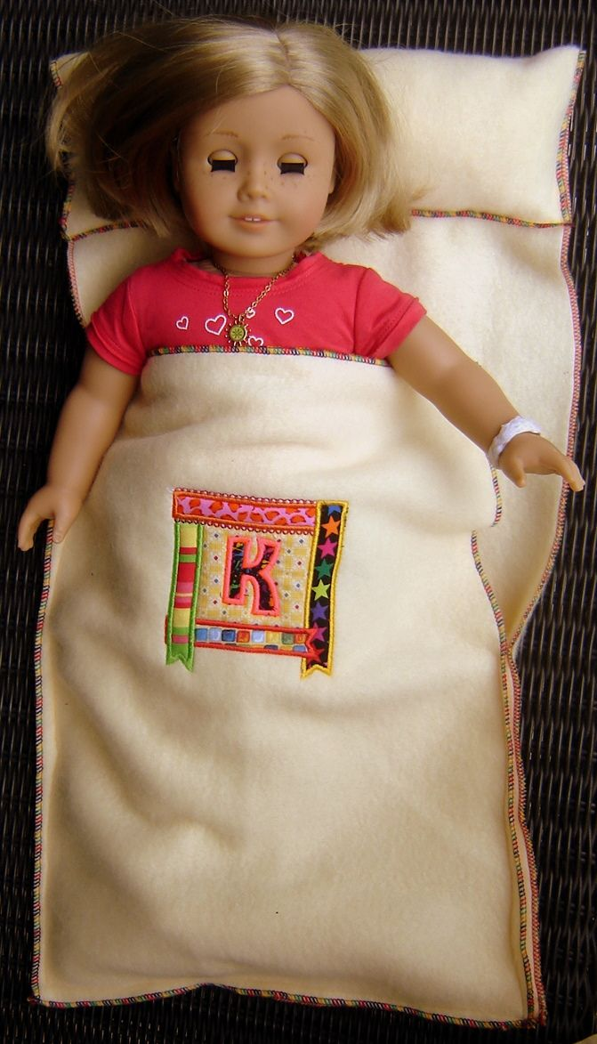 Doll Sleeping Bag–Kid Sew | Janice Ferguson Sews  says fishy link --but it went to the right place...so not sure what that was about.