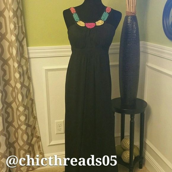 *** SALE *** Black Full Length Dress Cute Full Length Dress with Bead Neckline in Great Condition. I've worn this dress once. It contains no rips or stains. Dresses Maxi