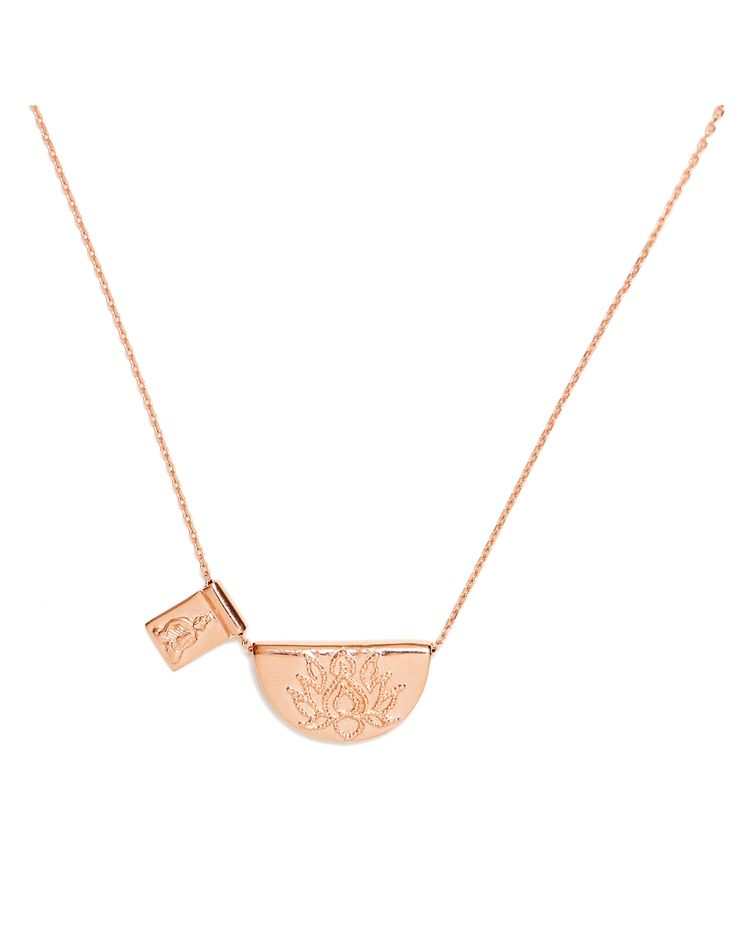 By Charlotte - Rose Gold Lotus And Little Buddha Short Necklace