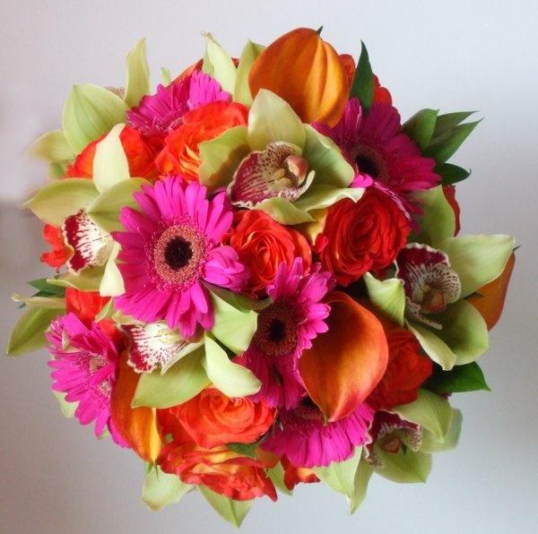 Wedding Flowers on WeddingWire: Orange Wedding Flowers, Weddings, Orchids Roses, Hot Pink, Lime Green, Beach Wedding, Gerbera, Bright Flowers, Orange Wedding Bouquets