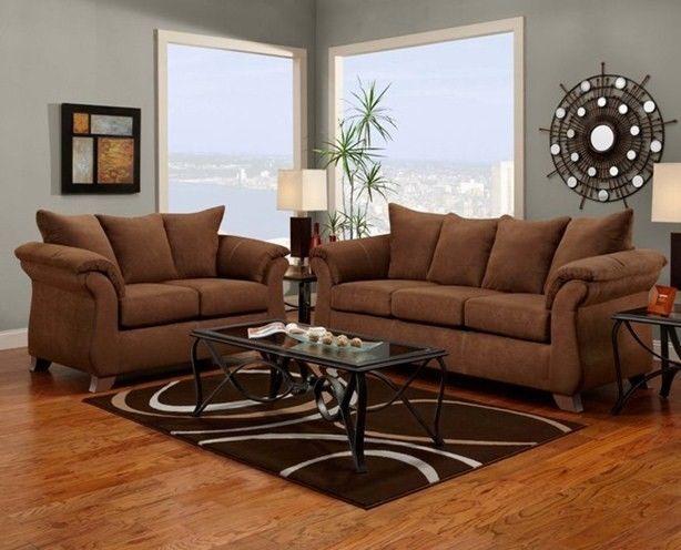 Aruba Chocolate Brown Microfiber Sofa Loveseat Living Room Furniture Set