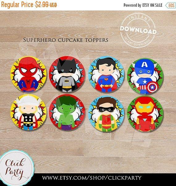 50% OFF SALE Superhero Cupcake toppers Super hero por ClickParty