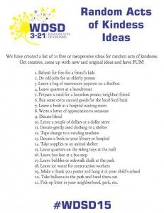 World Down Syndrome Day 3-21 Random Acts of Kindness Day