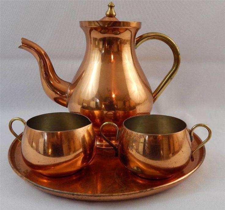 ODI Old Dutch International Vintage Copper Tea Set Teapot ...