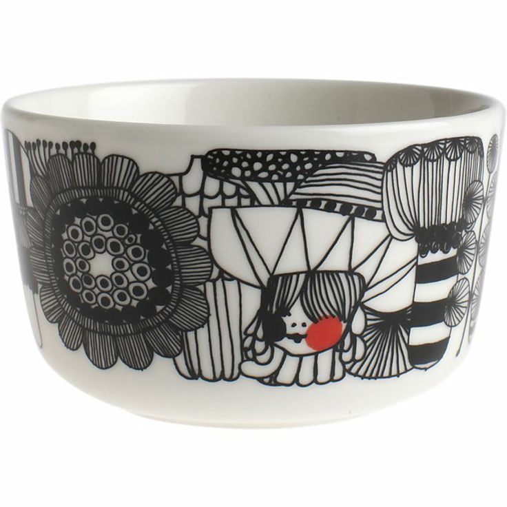 "Marimekko Siirtolapuutarha Black and White 3.75"" Bowl in Black&White 