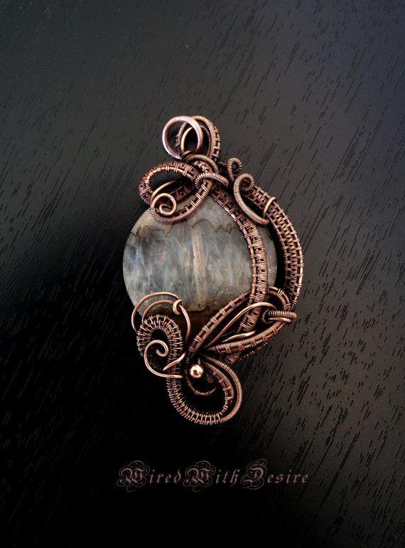 Agate pendant. Wire wrapped gemstone pendant. Romantic wire necklace. Jewelry wire wrap. Oxidized vintage copper pendant