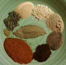 Cajun boiled peanuts spice mix ingredients cayenne pepper, black pepper, white pepper,  onion powder, garlic powder,  chili powder, thyme, sweet basil, bay leaf