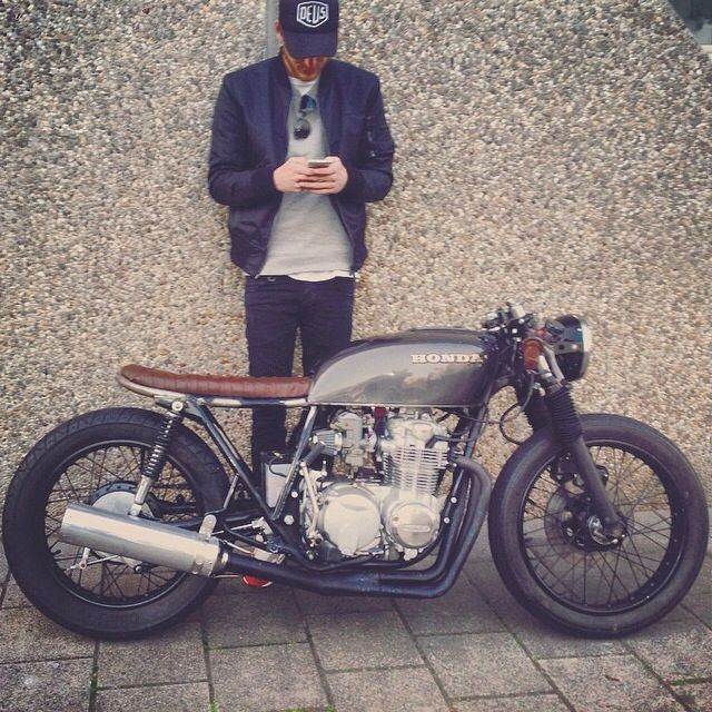 punkmonsieur:  stylish guy and awesome cafe racer bike  PUNK MONSIEUR  your daily dose of dope accessories