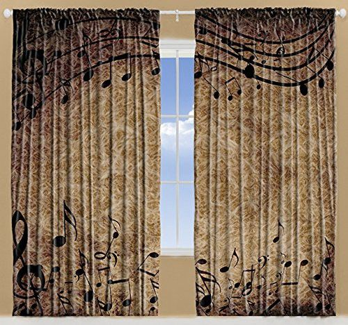 Ambesonne Musical Decorations Music Notes Chopin Sheet for Musician Men Women Bedroom Living Kids Room Curtains 108 X 84 Inches 2 Panels Set Jazz Music Lovers Decor Window Treatment, Brown Taupe Black