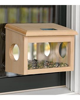 Watch Birds Up Close from Indoors  With a two-way mirror on the back, this feeder lets you observe your feathered friends without disturbing them. Birds enter through the holes in the ends and feed inside, out of the weather and safe from predators.