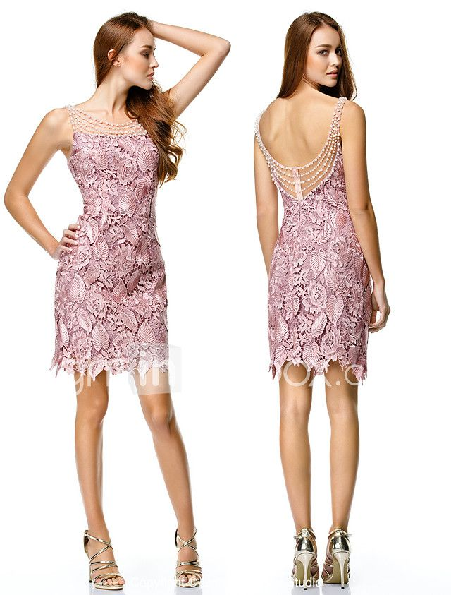 Vaina / columna cuello cuello corto / mini vestido de baile de encaje de poliéster por ts couture® 2018 - €78.44