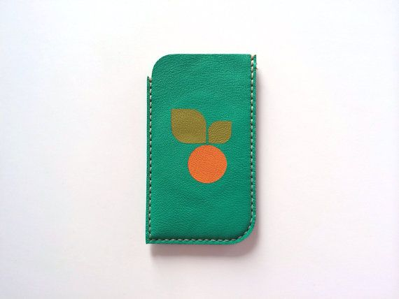 Leather iPhone Sleeve iPhone Case iPhone Pouch / for iphone 5, iphone 5S / Green and Orange Theme / Phone Case Phone Sleeve op Etsy, $16.53
