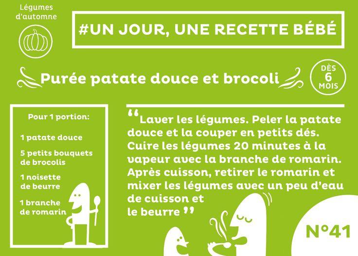 #recette #bébé du jour #41 #plat #dès6mois : Purée patate douce et brocoli