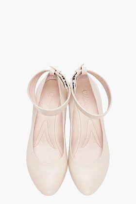 CHLOE cream platform wedge heel