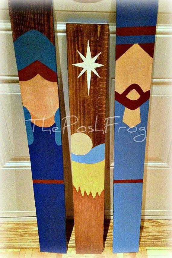 Rustique de Noël Nativité crèche scène Creche Scrap palette en bois main peint