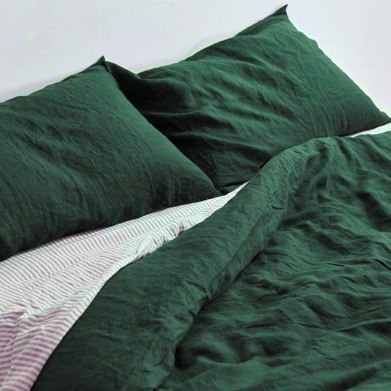 Forest Green Linen Duvet Cover 1 Duvet Cover Softened Etsy Linen Duvet Covers Linen Duvet Bed Linen Design