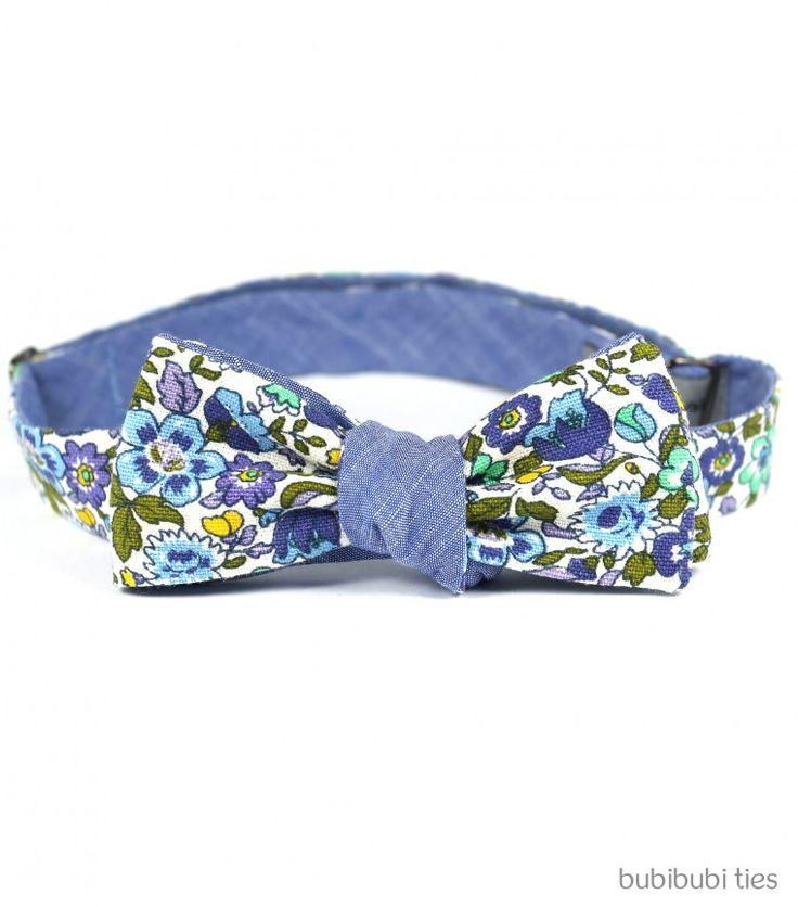 Blue/lilac floral reversible bowtie - bubibubi ties