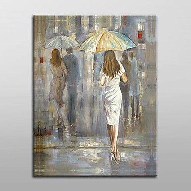 handgeschilderde abstracte mensen olieverfschilderij met gestrekte frame klaar om op te hangen – EUR € 62.99