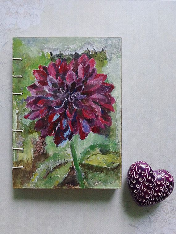 Burgundy dahlia notebook sketch book journal with coptic