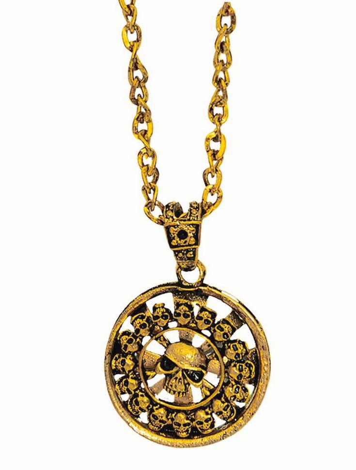 """Piraten Medaillion """"Cortés"""" um in der Karibik den Fluch los zu werden. Halskette metall, goldfarben mit Totenköpfen. Spitze Ausführung"""