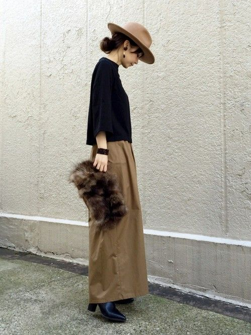 beige hat,black knit,beige wide pants,black boots,brown  fur clutch bag,