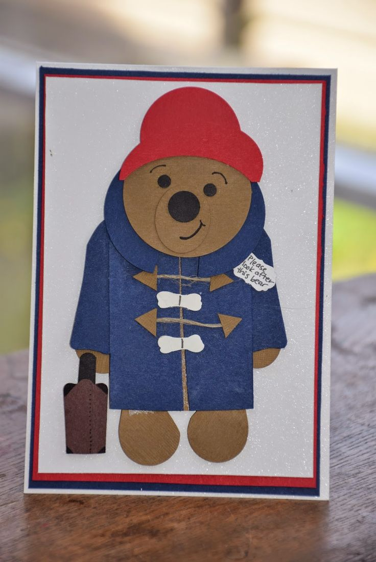 Paddington bear punch art card using Stampin Up punches - includes pic of individual pieces needed. By Clare