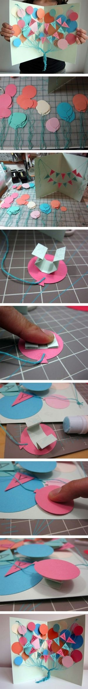 DIY :: birthday card by weasel- i like the popup baloon