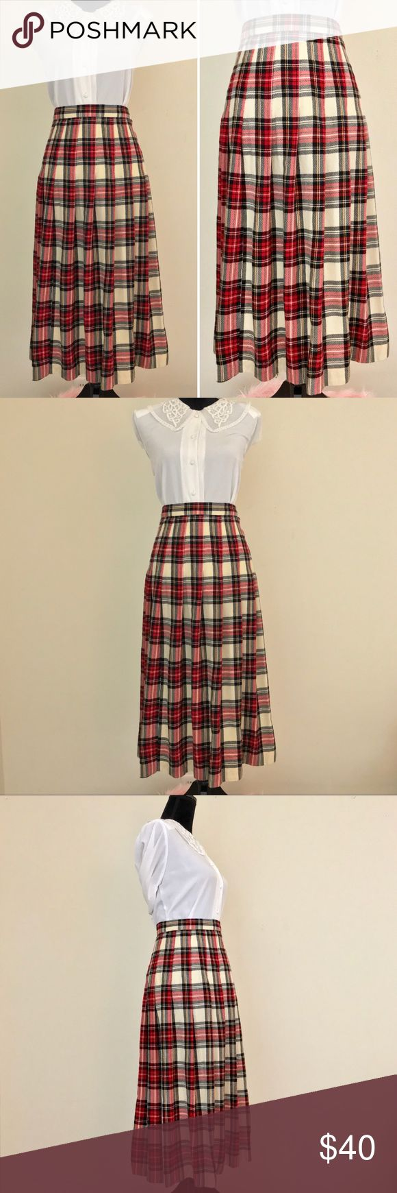 Vintage 70s Talbots Red Pleated Plaid Tartan Skirt Vintage 1970s Talbots High-Waisted Red Wool Pleated Plaid Tartan Midi Skirt. Look just like Audrey Horne in Twin Peaks in this classic skirt! Just add a collared top, cardigan & some saddle shoes & you'll be retro in no time. Body flattering fit & flare A-line cut. Material is a soft wool with an all over red, black & cream with yellow accents on a tartan plaid print. Has one tiny hole at a pleat that isn't very noticeable. Great 8/10…