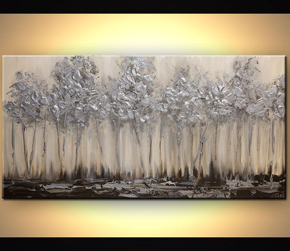 """Silver tree Painting 48"""" x 24"""" Original Abstract Textured Landscape Painting by Osnat - MADE-TO-ORDER"""