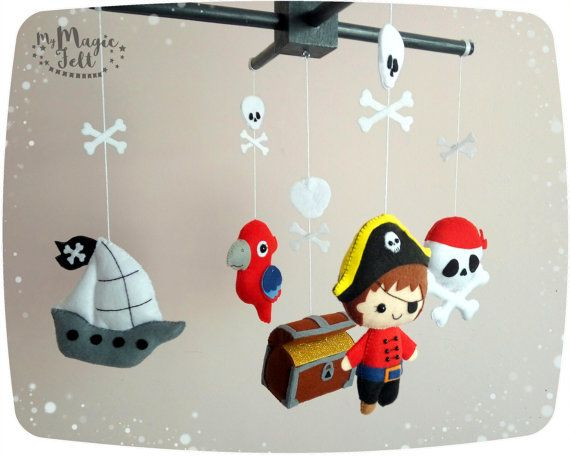 Baby mobile pirate Baby boy mobile pirates Nursery by MyMagicFelt