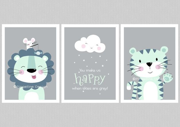 Kinder poster set l we tiger wolke a4 mint a4 for Kinderzimmer grau mint