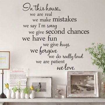 60X56CM In This House English Letter Proverbs Wall Stickers Home Decoration - Newchic Mobile.