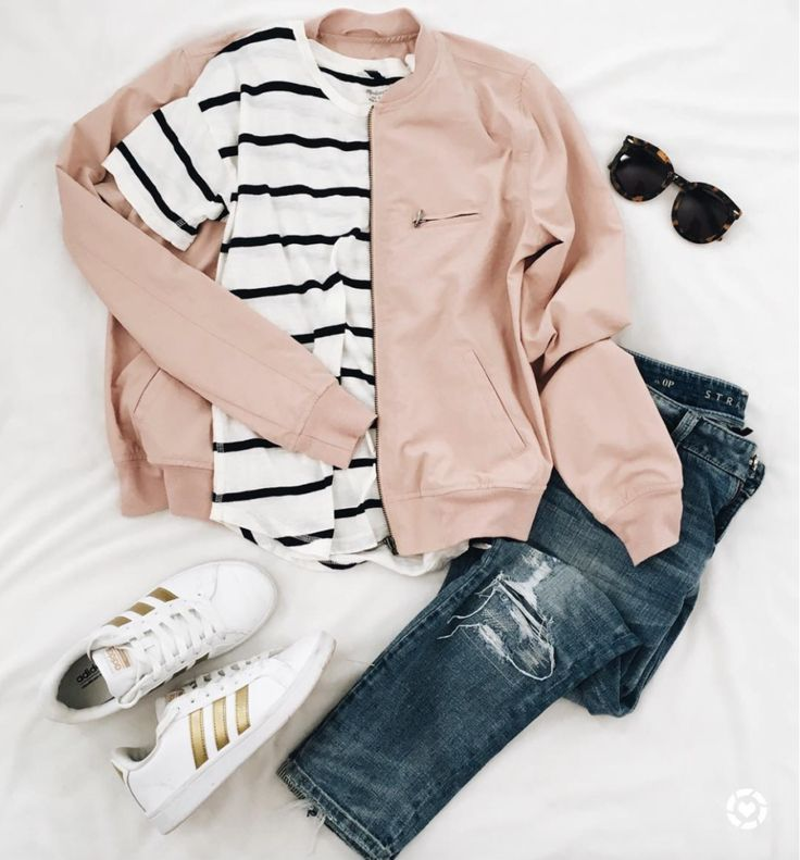 instagram lately. - dress cori lynn. White and black striped tee+distressed jeans+white and gold sneakers+blush bomber jacket+sunglasses. Spring Casual Outfit 2017