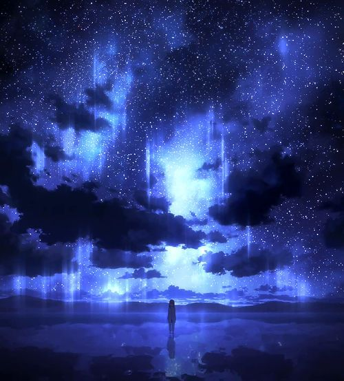 • night space stars anime scenery houkago no pleiades caramel-cookie •: