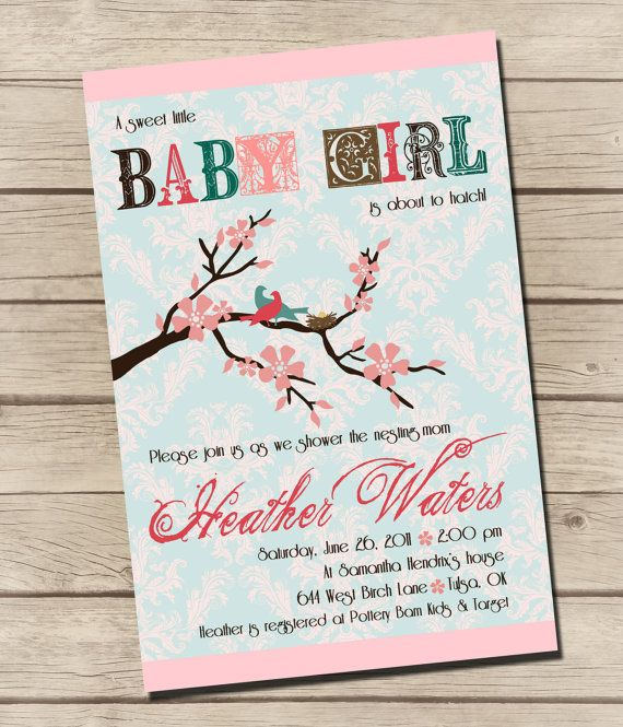 PRINTABLE  Nesting Bird  Baby Shower Invitation  by UrbanFrontiers, $12.00