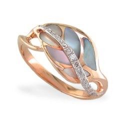 Rose Gold Maile Leaf Ring with Pink Mother of Pearl and Diamonds. Top of my top 3.