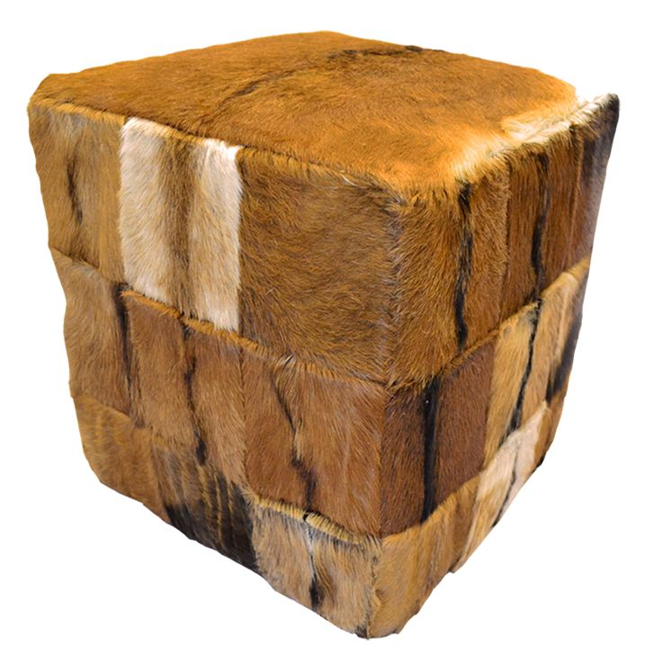 Square Stool - Goat Skin. The Square Stool is a versatile piece finished in genuine goat skin patchwork design. Each piece has varying grains and can be beautifully arranged to be both functional and interestingly creative.