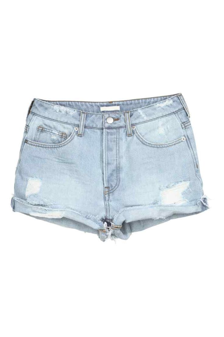 Shorts in jeans Trashed: Shorts a 5 tasche in denim lavato con dettagli molto consumati, modello corto. Vita alta e bordi tagliati a vivo a fondo gamba. Patta con bottoni.