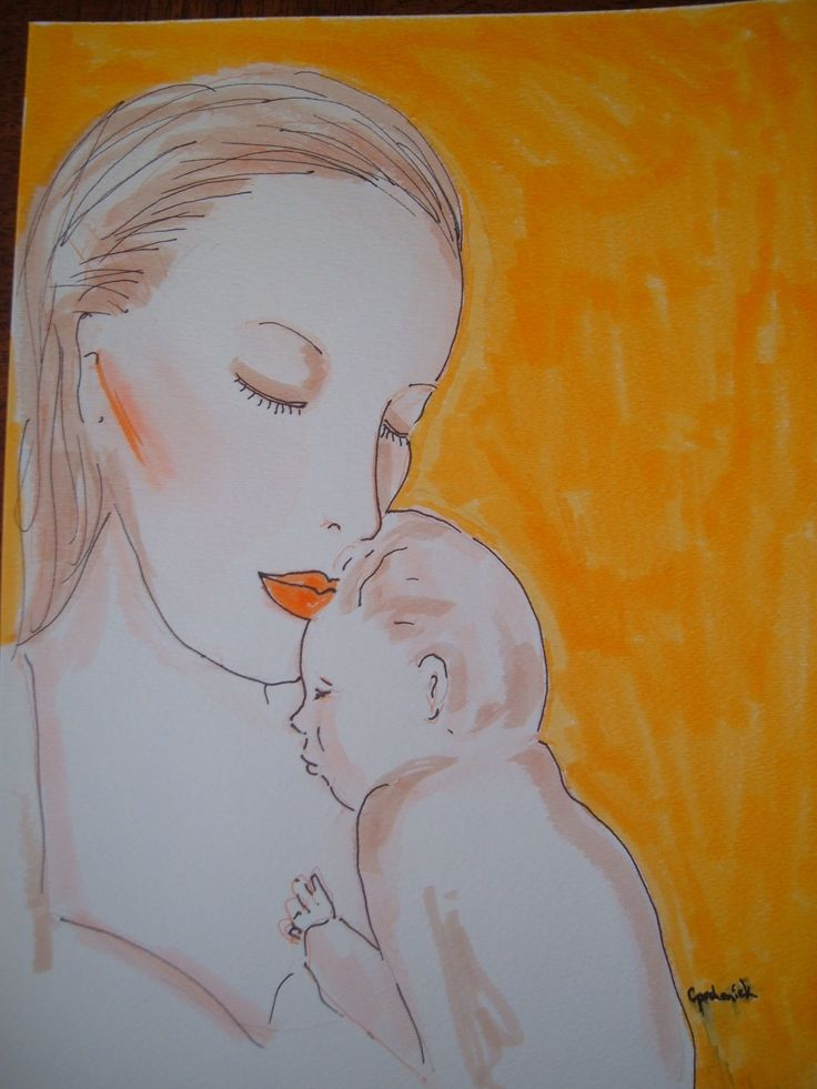 mother and babe - watercolour