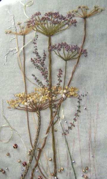 Seed Heads - hand dyed ripped silk and variety of threads and embellishments and bead.