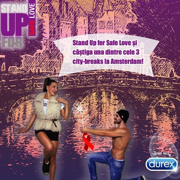 http://bit.ly/StandUpForSafeLove2014 Pregateste-te pentru cea mai sigura destinatie de distractie! Cumpara orice produs Durex, inscrie bonul fiscal in aplicatie si poti castiga una dintre cele 3 city-breaks la Amsterdam? Stand Up For #SafeLove!