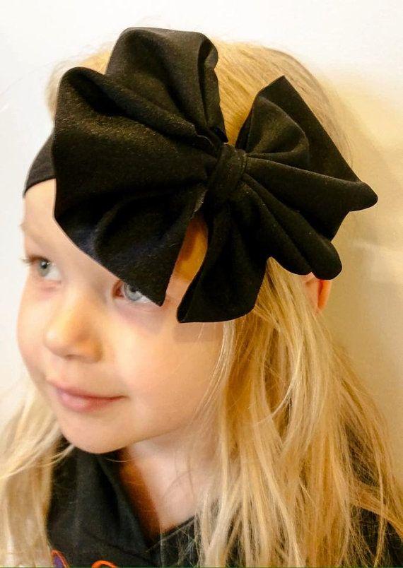 Black Floppy Bow Headwrap by CarolandGrace on Etsy