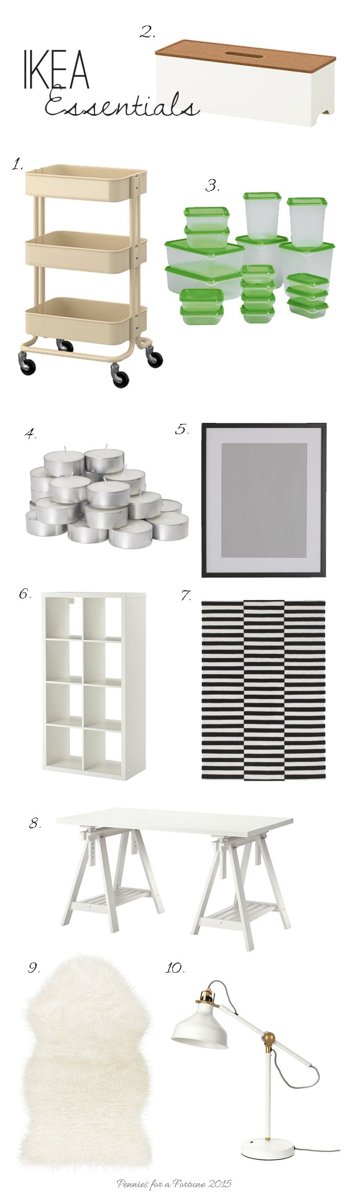 Totally Awesome IKEA Essentials Roundup. Here's a list of IKEA must haves that actually look and work great!  For ideas and inspiration, check out www.penniesforafortune.com  PIN now!