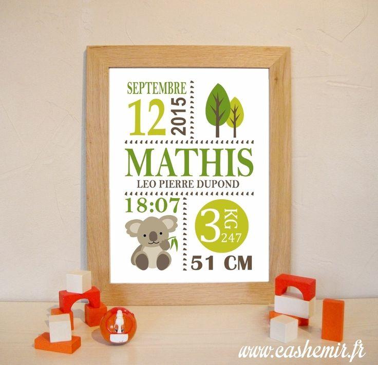 Cadeau naissance, stats de naissance, décoration chambre bébé garçon - Fichier Imprimable - n°42 koala : Décoration pour enfants par cashemir